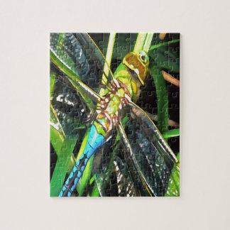 Blaue Libellen-Flügel Puzzle
