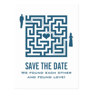 Blaue Liebe-Labyrinth-Save the Date Postkarte