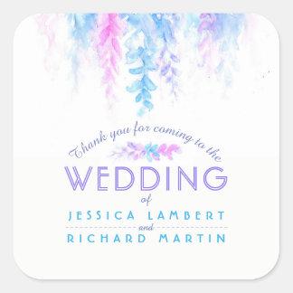 Blaue lila Hochzeitsaufkleber der Watercolorrebe Quadratischer Aufkleber