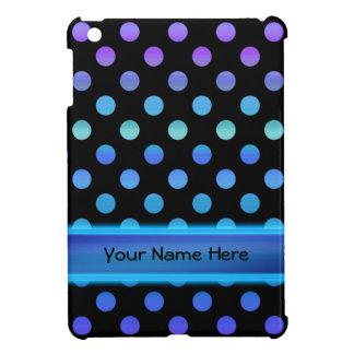 Blaue lila Punkte auf Schwarzem iPad Mini Hülle