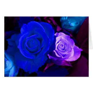 Blaue lila Rose Grußkarte