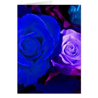 Blaue lila Rose Karten