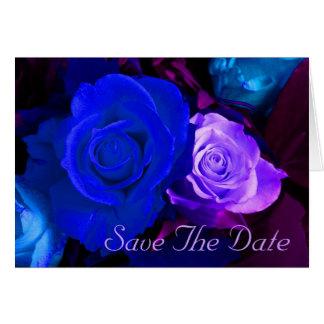 Blaue lila Rose Save the Date Grußkarte