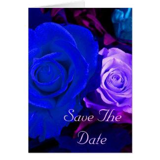 Blaue lila Rose Save the Date Karte