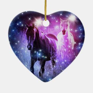 Blaue lila Sterne der romantischen Galaxie, die Keramik Herz-Ornament