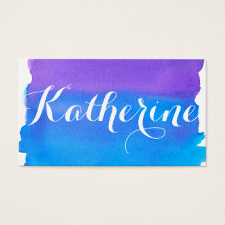 Blaue lila Watercolor-Wäsche Visitenkarte