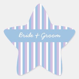 Blaue lila Weiß-Streifen-blauer Hochzeits-Stern Stern-Aufkleber