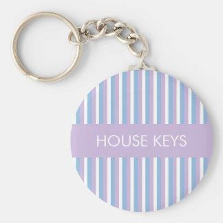 Blaue lila weiße Streifen lila Standard Runder Schlüsselanhänger