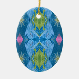 Blaue Limone Sternexplosion-Stammes- Muster Keramik Ornament