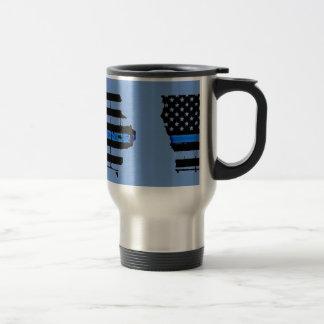 blaue Linie Polizei-USA-Flagge Reisebecher