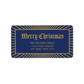 Blaue Linien dekorative frohe Weihnacht-Adresse Adressaufkleber