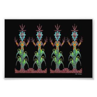 Blaue Mais-Leute Fotodruck