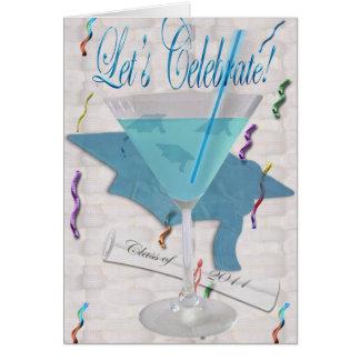 Blaue Martini-Abschluss-Einladung Karte