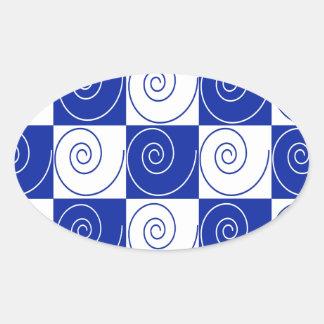 Blaue MäuseSchwanz-Drehungen Ovaler Aufkleber