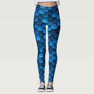 Blaue Meerjungfrau-Skalen Leggings