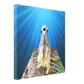 Blaue Meerkat Dämmerungs-Maßkunst, Leinwanddruck