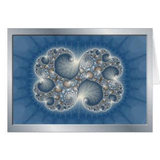 Blaue metallische Fraktal notecards