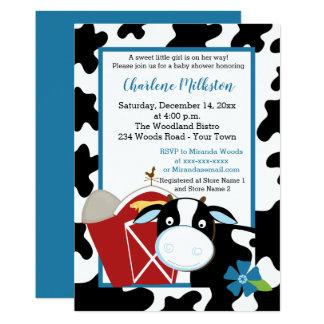 Blaue Milchkuh-Jungen-Babyparty-Einladung Karte