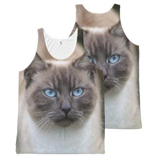 Blaue mit Augen Katze Photograpy Komplett Bedrucktes Tanktop
