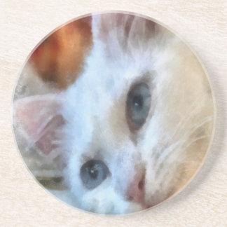 Blaue mit Augen weiße Katze Sandstein Untersetzer