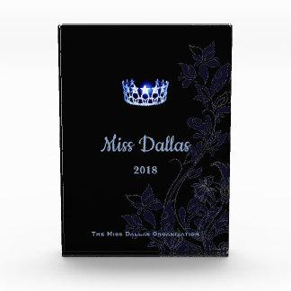 Blaue mit Blumenkronen-Acrylpreis Fräulein-USA Acryl Auszeichnung