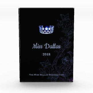 Blaue mit Blumenkronen-Acrylpreis Fräulein-USA Auszeichnung