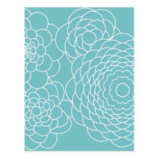 Blaue moderne abstrakte mit BlumenBlumen Postkarten