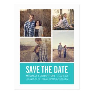 Blaue moderne Foto-Save the Date Postkarten