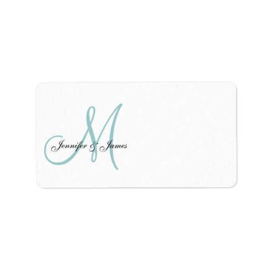 Blaue Monogramm-Hochzeits-Einladungs-Adressen-Etik Adressaufkleber