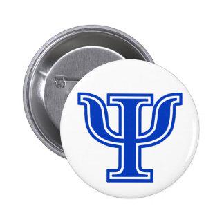 Blaue Monogramm-Initiale griechischer Buchstabe-P/ Runder Button 5,1 Cm