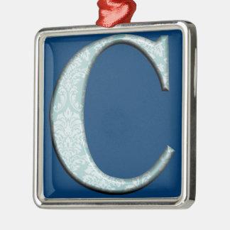 Blaue Monogramminitialen Geschenke des Quadratisches Silberfarbenes Ornament