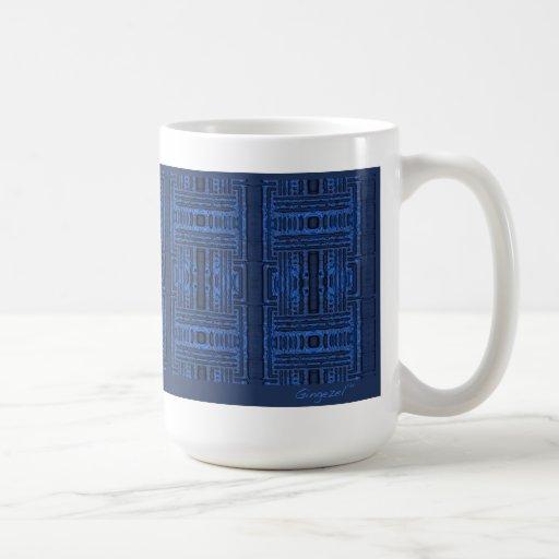 Blaue Moonshadows geometrische Tasse