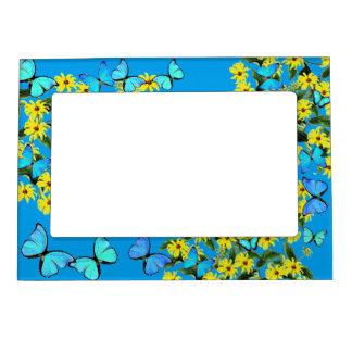 Blaue Morpho Schmetterlings-Blumen-magnetischer Magnetrahmen