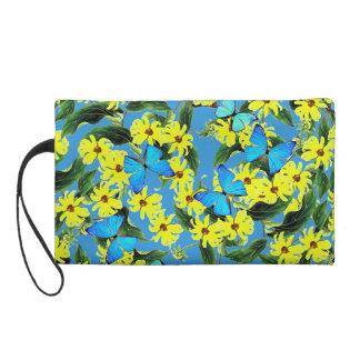 Blaue Morpho Schmetterlings-Blumen-Zusatz-Tasche Wristlet