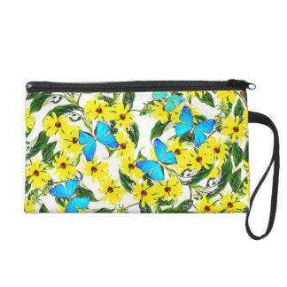 Blaue Morpho Schmetterlings-Blumen-Zusatz-Tasche Wristlet Handtasche