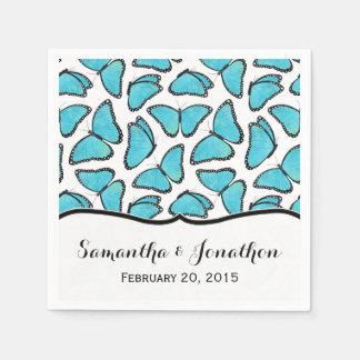 Blaue Morpho Schmetterlings-Hochzeit Papierserviette