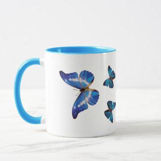Blaue Morpho Schmetterlings-Kaffee-Tasse Tasse