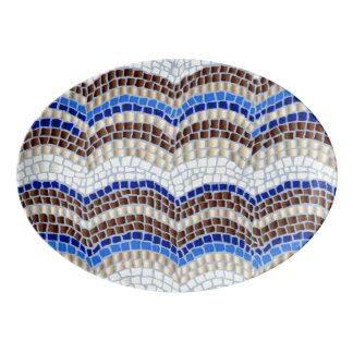 Blaue Mosaik-Porzellan-Servierplatte Porzellan Servierplatte