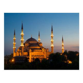 Blaue Moschee an Dämmerung Postkarte