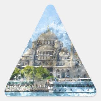 Blaue Moschee in Istanbul die Türkei Dreieckiger Aufkleber