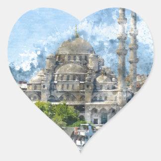 Blaue Moschee in Istanbul die Türkei Herz-Aufkleber