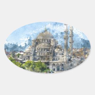 Blaue Moschee in Istanbul die Türkei Ovaler Aufkleber