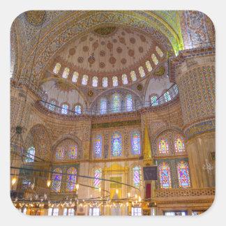Blaue Moschee in Istanbul die Türkei Quadratischer Aufkleber