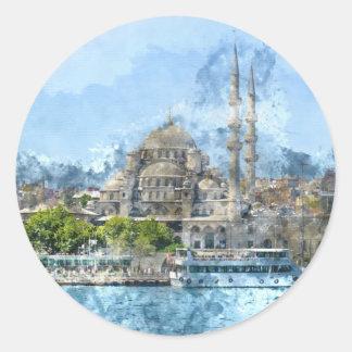 Blaue Moschee in Istanbul die Türkei Runder Aufkleber