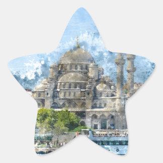 Blaue Moschee in Istanbul die Türkei Stern-Aufkleber