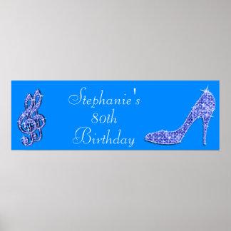 Blaue Musik-Anmerkung und Stilett-80. Geburtstag Posterdrucke