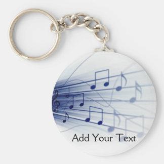 Blaue Musik-Explosion auf Weiß Standard Runder Schlüsselanhänger