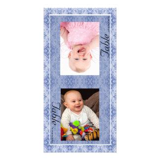 Blaue Muster-Braut-u. Bräutigam-Foto-Tischnummer-K Foto Karten Vorlage