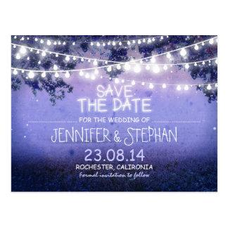 blaue Nacht beleuchtet romantisches Save the Date Postkarte