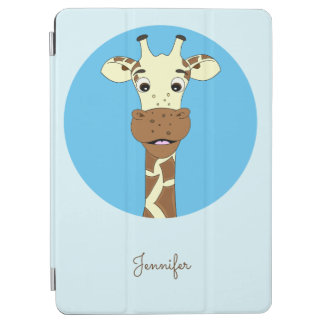 Blaue Namenskinder des lustigen Giraffen-Cartoon iPad Air Cover